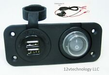 Waterproof Dual USB Charger Socket + Switch +Wires 12 V Outlet Power Marine Boat
