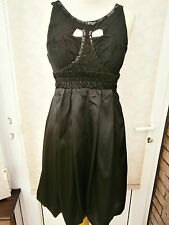 LADIES SATIN BUBBLE HEM DRESS WITH SEQUIN TRIM BLACK SIZE 10 NEW (ref 694)