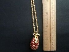 """Vintage Joan Rivers Jeweled Egg Bow Pendant Necklace Ruby Red Crystal 28"""" Long w"""