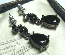 Pretty VINTAGE Signed Monet Jet Black Faceted Crystal Jewellery Drop EARRINGS