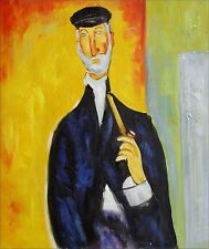 Amedeo Modigliani Man with Pipe Repro, Hand Painted Oil Painting, 9 1/8x10 3/4in