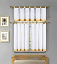 Tatum 3 Pc White Yellow Gingham Check Kitchen Window Curtain Set
