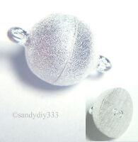 1x STERLING SILVER STARDUST ROUND BALL MAGNETIC CLASP 10mm N390