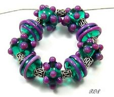 ROA Lampwork 9 Transparent Teal & Purple Designer Handmade Art Glass Beads SRA