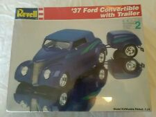 1994 REVELL '37 FORD CONVERTIBLE & TRAILER 1/25 SCALE MODEL KIT #7245