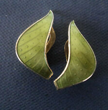 Norwegian Sterling Silver Green Enamel Clip On Earrings - Ivar Holt  Norway