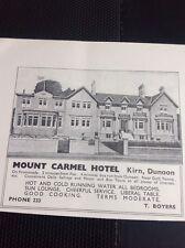 M4-2 Ephemera 1939 Dunoon Advert Mount Carmel Hotel T Boyers