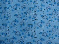 5 YARDS OF VINTAGE TURQUOISE AND WHITE FLOWERS, STARS, & HEARTS COTTON FABRIC