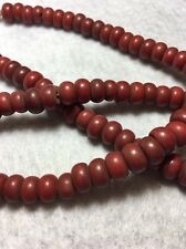 "23.5"" Vintage Nepal Brownish Red Handmade Opaque Glass Rondell Trade Bead Strand"