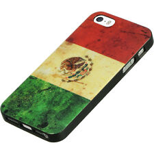 for iPhone SE / 5S - Mexico Flag Red Green Hard TPU Rubber Gummy Skin Case Cover