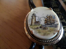 Scrimshawed Bolo Tie ...Ship and Lighthouse ! in color !