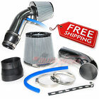"""2.5-3.0"""" UNIVERSAL COLD AIR Intake INDUCTION HOSE KIT System Cone Filter CHROME"""