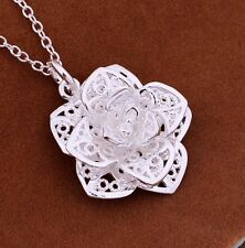 925 Sterling Silver FLOWER Charm Pendant Necklace Link Chain Women Jewelry Gift