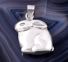 Sterling Silver Rabbit Charm Puffy Easter Bunny 925 Pendant Large for Bracelet