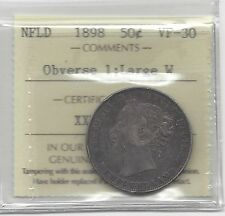 "**1898 Obv.31 Large ""W""**, ICCS Graded Newfoundland Silver 50 Cent, **VF-30**"