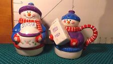 Sugar and Creamer Set, Snowmen, Houston Harvest Gift Prods. So Cute!