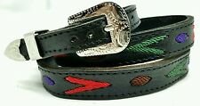 NEW Black HATBAND w/ RED + GREEN Embroidery & Buckle Set Western Cowboy Hat Band