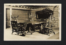 Baldwin Michigan MI c1939 RPPC Shrine of the Pines, Cabin Cedar Table, Chairs  )