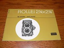 "Vintage Rollei 2-1/4 x 2-1/4"" TLR Camera Brochure~Excellent Condition"