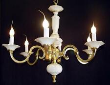 "Vintage BRASS 24"" x 20"" Spanish 8 Light WHITE PORCELAIN Chandelier Gold Accents"