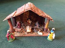 ANTIQUE VINTAGE NATIVITY SCENE SET MADE IN ITALY ITALIAN BARK ROOF MANGER
