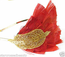 1920s Red Gold Peacock Feather Headpiece Flapper Headband Great Gatsby Vtg Q58