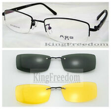 Eyeglass Frame With 2 Gray & Yellow Black sunglasses Clip-on Glasses