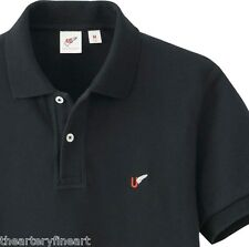 MICHAEL BASTIAN x UNIQLO Men's Washed Short Sleeve Polo Shirt M Solid Black NEW!