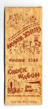 Lawrence KS The Chuck Wagon Restaurant Matchbook Cover 1950s