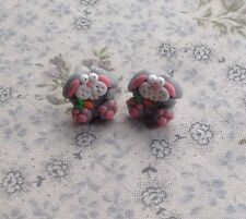 bunny earrings Easter Studs Silver Fimo Handmade So Cute Rabbit