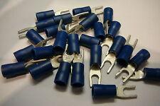 Paquete De 25 De Azul 3.7 mm Con Bloqueo Horquilla terminales de crimpeado (de 3,5 mm Perno / Tornillo)