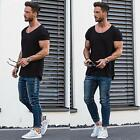 Men White Black Scoop Neck T-shirt Summer Casual Short Sleeve Top Solid Color RT