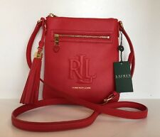 Ralph Lauren Victoria Handbag  MD Cross-body Messenger  Red/Gold Soft Leather