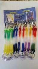 X 12 PCS Spiral String Key Ring/Chain And Belt Clip Different Colours