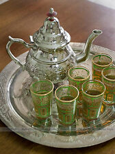 LARGE Moroccan Alpaca Silver Tea Set with Teapot, Tray & 6 GREEN Tea Glasses
