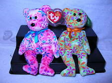 TY Beanie babies FUNKY & GROOVEY the Flower Print Bears (8.5 inch)