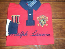 Polo Ralph Lauren Red Big Crest Snow Challenge Color Block Rugby Shirt Medium