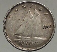 1943 CANADA King George VI - Silver 10 Cent SILVER Coin - BLUENOSE SHIP i56795