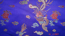 Blue Chinese Satin Dress Fabric Dragon Print 112cm Wide SOLD PER METRE