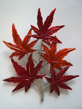 "Vintage Signed JJ  ""Silver pewter Japanese Maple Leaf"" Brooch/Pin"