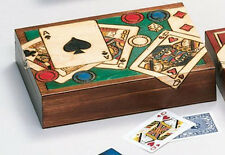 POKER BOX Large Detailed Playing Cards Poker Chips & Dice Handmade Wood Poland
