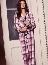 Nwt Victoria's Secret Dreamer Flannel Pajamas PJ 3 pc Set Pink Plaid M new comfy