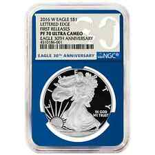 2016-W Proof $1 American Silver Eagle NGC PF70UC First Releases Blue Core 30th A