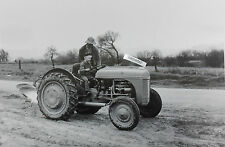 """12 By 18"""" Black & White Picture Ford Tractor Farmer teaching son to drive"""