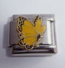 YELLOW BUTTERFLY 9mm Italian Charm - fits Classic Starter Bracelets - November