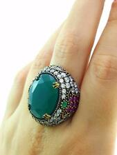 TURKISH HANDMADE JEWELRY 925 Sterling Silver Ladies Emerald Ring Size 7.5 R1026