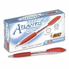 """BIC Atlantis Ballpoint Retractable Pen, Red Ink, Medium, 1mm, Dozen"""