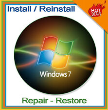 Windows 7 32 64 bit Home Premium Pro Re Install Ultimate Recovery Disc DVD Disk
