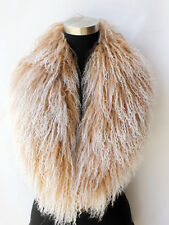 X-Large Genuine mongolian fur wool scarf scarves collar free shipping beige