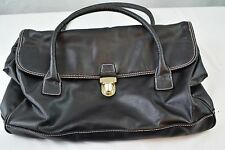VICTORIA'S SECRET BLACK Leather Travel Diaper Overnight Duffel Gym Bag Huge